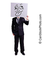 businessman holding funny expression billboard with isolated...