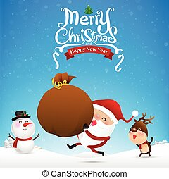 Merry christmas text and santa claus cartoon holding red...