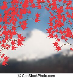 Greeting card with autumn landscape. Red maple leaves on...