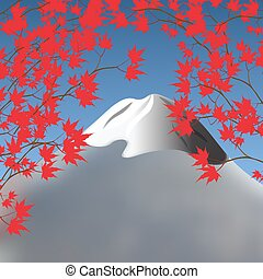 Red maple leaves on branches on both sides. Japanese red...