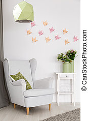 Origami wall art idea - Light home interior with armchair,...