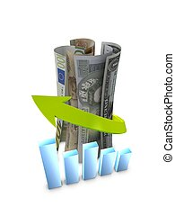Money Graph - 3d image, conceptual currency growth chart,...