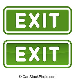 Green Emergency Exit Sign Set on White Background. Vector