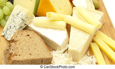 cheese variation close, loop - different cheese with bread,...