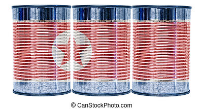 Tin Cans Flag of North Korea - Three tin cans with the flag...