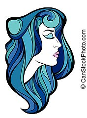 Vector decorative portrait of beauty woman with blue long hair isolated on white background.
