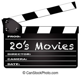 20s Movies Clapperboard - A typical movie clapperboard with...