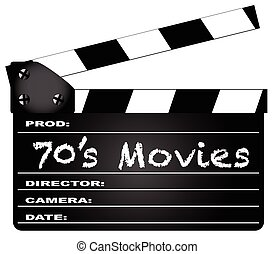 70's Movies Clapperboard - A typical movie clapperboard with...