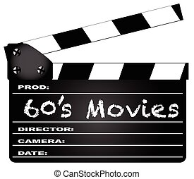 60s Movies Clapperboard - A typical movie clapperboard with...