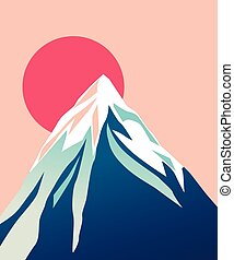 Blue mountain with snowy peak. Sun. - Mountain with red Sun....