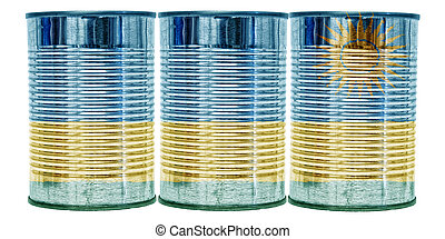 Tin Cans Flag of Rwanda - Three tin cans with the flag of...