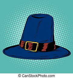 Vintage hat pilgrim, pop art retro vector illustration....