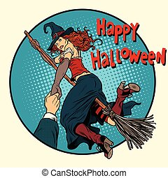 Happy Halloween witch on a broomstick follow me