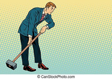 Retro businessman with a big hammer, copy space right