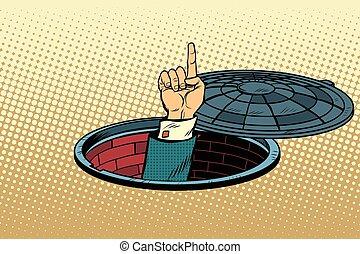 Index finger from manhole, pop art retro vector illustration