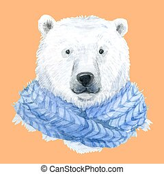 Polar bear in a blue scarf - Beautiful waterclor polar bear...