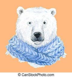 Polar bear in a blue scarf - Beautiful waterclor polar bear...