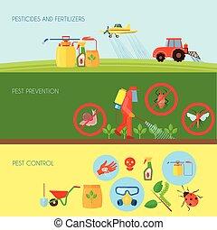 Pesticides Banners Set - Pesticides and fertilizers...