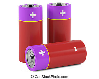 AA size batteries on white background