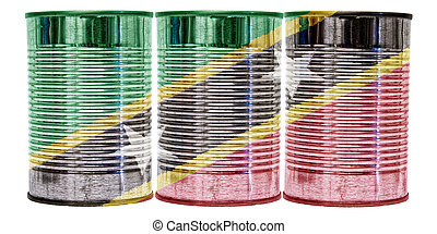 Tin Cans Flag of St Kitts and Nevis - Three tin cans with...