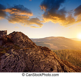 Beautiful mountain landscape in the National park Sumava at...