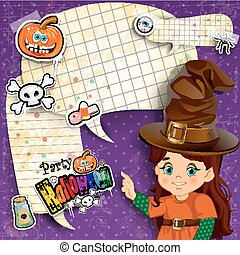 Halloween invitation with cartoon witch and cartoons where...
