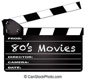 80's Movies Clapperboard - A typical movie clapperboard with...