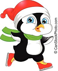 cute penguin ice skating - vector illustration of Cute...