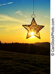 Christmas star and bright sun - Landscape, sunny dawn in a...