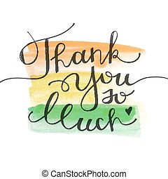 thank you so much, vector lettering on watercolor...