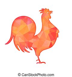Bright red polygon illustration of a rooster isolated on...