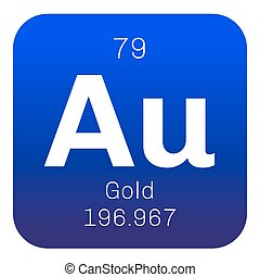 Gold chemical element. One of the least reactive chemical...