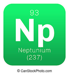 Neptunium chemical element. Synthetic element. Colored icon...