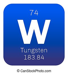 Tungsten chemical element. Also known as wolfram. Colored...