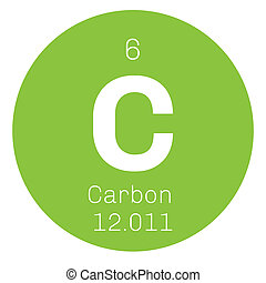 Carbon chemical element. Graphite and diamond. Colored icon...