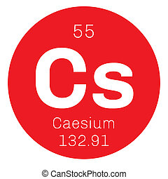 Caesium chemical element. Soft alkali metal. Colored icon...