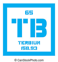 Terbium chemical element. Rare earth metal. Colored icon...
