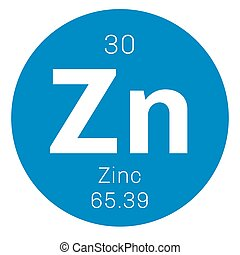Zinc chemical element. Common element on Earth. Colored icon...