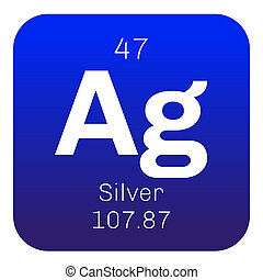 Silver chemical element. Precious metal. Colored icon with...