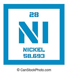 Nickel chemical element. Transition metal. Colored icon with...