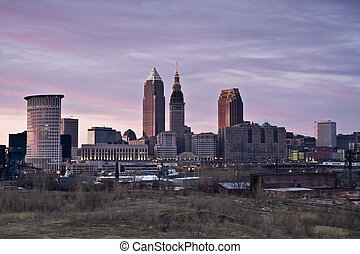 Pink sunset in Cleveland - Pink sunset in Downtown Cleveland...