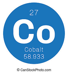 Cobalt chemical element. Colored icon with atomic number and...