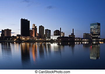 Toledo - Downtown of Toledo, Ohio - night time.