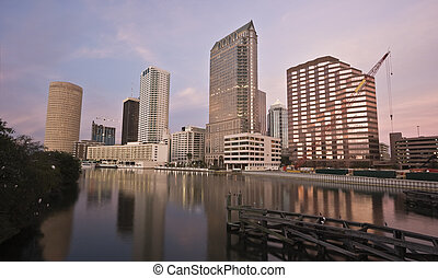 Downtown of Tampa - sunset time