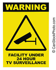 Facility protected by video surveillance text sign -...
