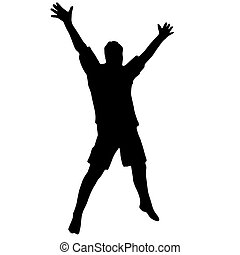 Hiqh quality illustration of the guy that jumps and rejoices