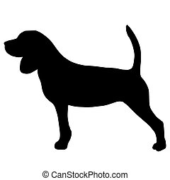 High quality silhouette of beagle isolated on white...