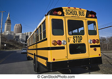 School Bus in Cleveland - School Bus in Downtown Cleveland.