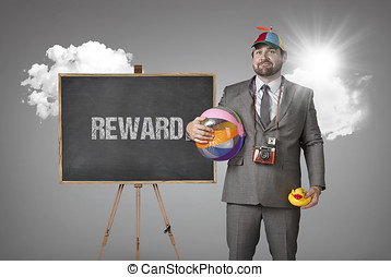 Reward text with holiday gear businessman and blackboard...