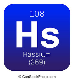 Hassium chemical element. Radioactive synthetic element....